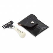 Станок для бритья  Mini Mach3 Travel Razor Imit Ivory in Leather Case
