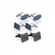 "Набор запонок ""3 Pairs of Assorted Stripe Cufflinks"""